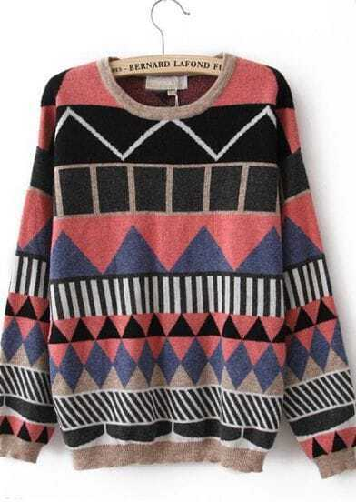 Pink Long Sleeve Geometric Print Pullovers Sweater
