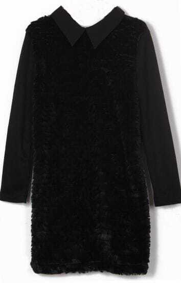 Black Wing Collar Contrast Fur Front Long Sleeve Short Dress