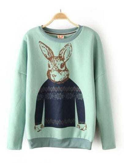 Light Green Rabbit Print Elbow Patch Sweatshirt