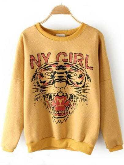 Yellow Round Neck NY GIRL Tiger Print Sweatshirt