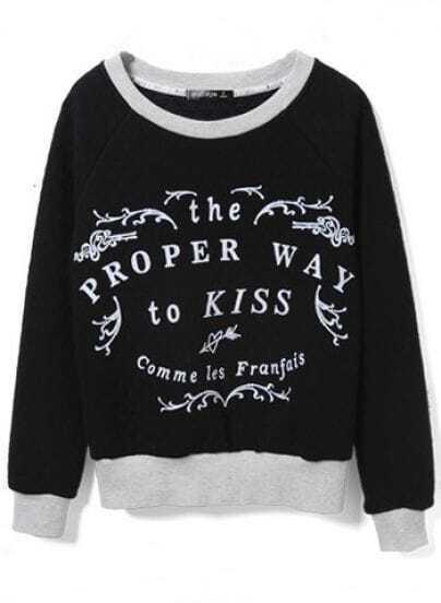 Black Letters Print Diamond Patterned Sweatshirt