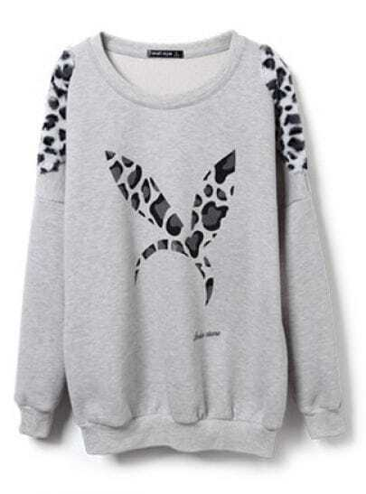 Grey Leopard Rabbit Ears Pattern Loose Sweatshirt