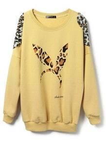 Yellow Leopard Rabbit Ears Pattern Loose Sweatshirt
