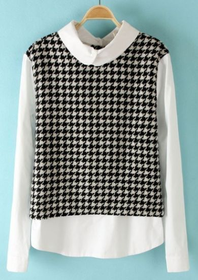 Black White Houndstooth Back Buttons Blouse