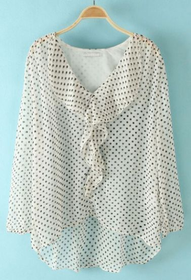 White Polka Dot Ruffles High-Low Blouse