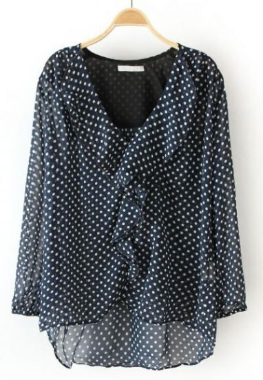 Navy Polka Dot Ruffles High-Low Blouse