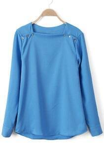 Blue Boat Neck Metal Buttons Chiffon Blouse