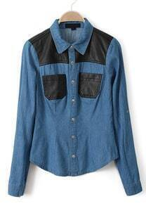 Blue Contrast PU Leather Pockets Denim Blouse