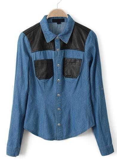 Blue Contrast PU Leather Pockets Denim Blouse