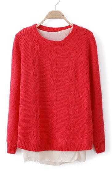 Red Long Sleeve Lap Chiffon Cable Knit Sweater