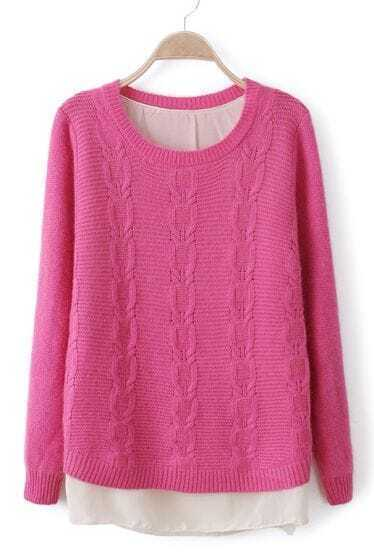 Rose Red Long Sleeve Lap Chiffon Cable Knit Sweater