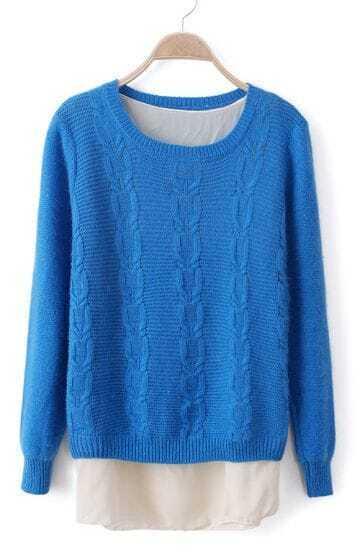 Blue Long Sleeve Lap Chiffon Cable Knit Sweater