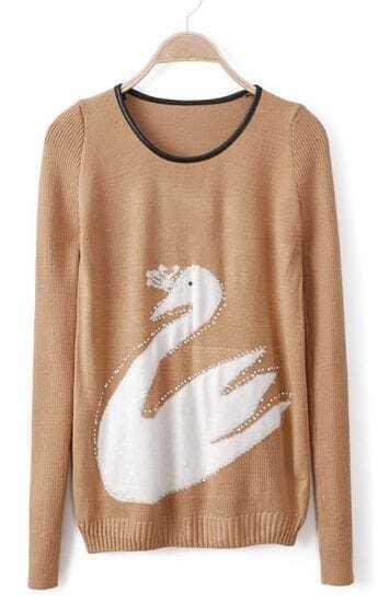 Khaki Contrast PU Leather Rhinestone Swan Pattern Sweater
