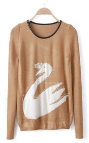 Khaki Contrast PU Leather Rhinestone Swan Pattern Sweater