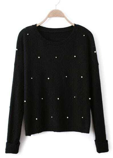 Black Long Sleeve Pearls Knit Pullover Sweater