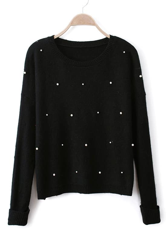 Black Long Sleeve Pearls Knit Pullover Sweater -SheIn(Sheinside)