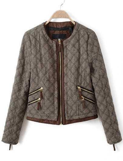 Grey Long Sleeve Zipper Pockets Crop Jacket