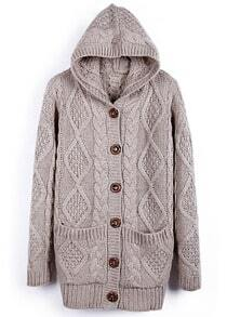Light Coffee Hooded Long Sleeve Cardigan Sweater Coat