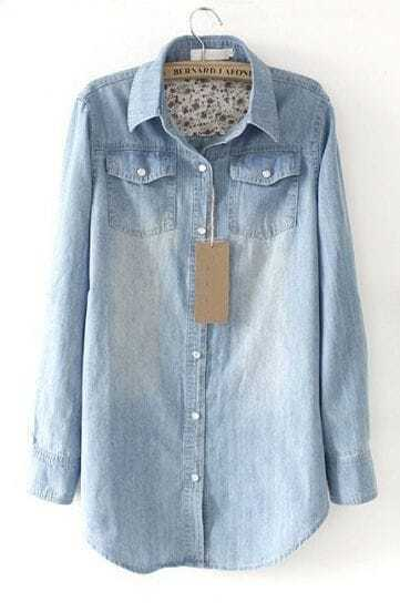 Light Blue Lapel Long Sleeve Pearls Denim Shirt
