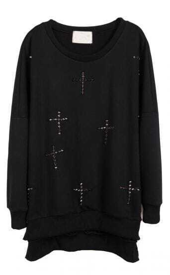 Black Long Sleeve Rivet Cross Embellished Sweatshirt