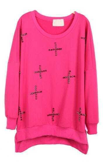Rose Red Long Sleeve Rivet Cross Embellished Sweatshirt