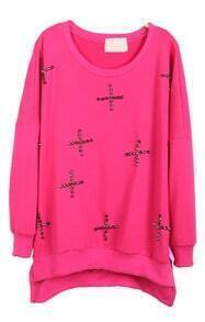 Rose Red Long Sleeve Rivet Cross Embellished Sweatshirt