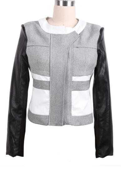 Grey Contrast PU Leather Sleeve Crop Coat