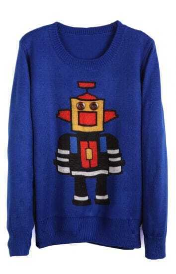 Blue Long Sleeve Robot Pattern Knit Sweater