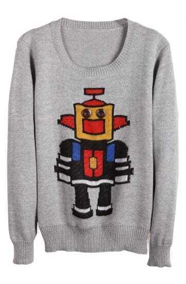 Grey Long Sleeve Robot Pattern Knit Sweater