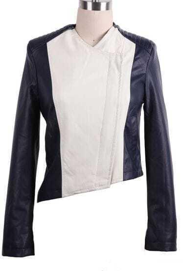 Navy Long Sleeve Asymmetrical PU Crop Coat