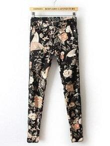 Black Low Waist Birds Tribal Print Pant