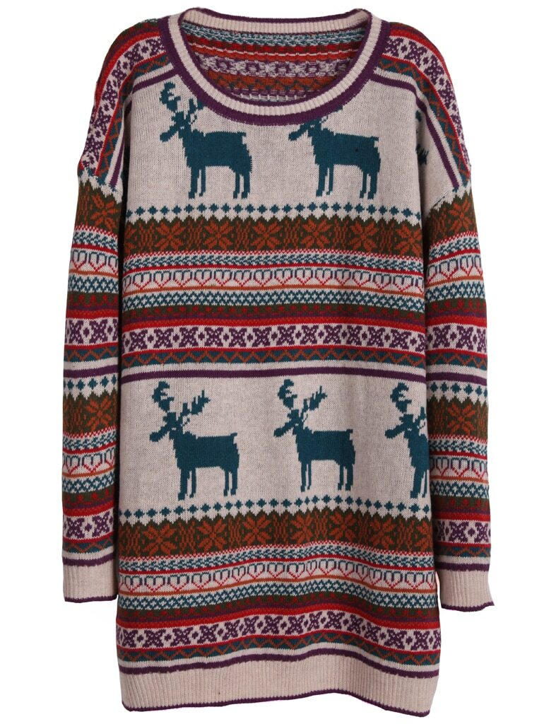 Light Khaki Deer Fair Isle Christmas Xmas Warm Nicest Pattern Oversized Sweater -SheIn(Sheinside