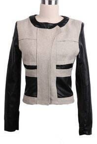 Apricot Contrast PU Leather Sleeve Crop Coat