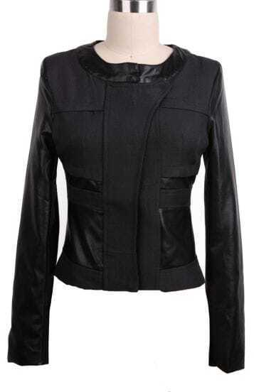 Black Contrast PU Leather Sleeve Crop Coat