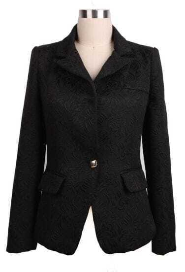 Black Notch Lapel Embroidery Pockets Suit