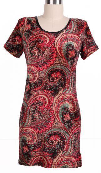 Red Short Sleeve Shoulder Pads Floral Dress