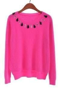 Rose Red Long Sleeve Rhinestone Crop Sweater