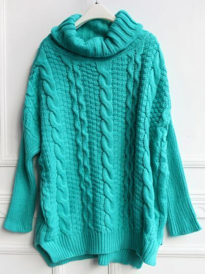 Green High Neck Loose Cable Knit Sweater