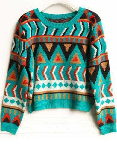 Green Long Sleeve Geometric Pullovers Sweater