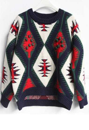 Green Long Sleeve Christmas Tree Pattern Sweater