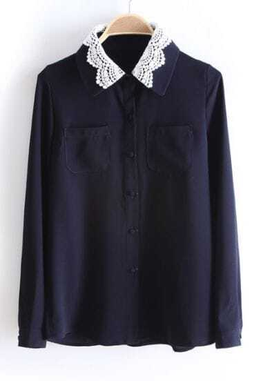 Navy Lace Lapel Long Sleeve Chiffon Blouse