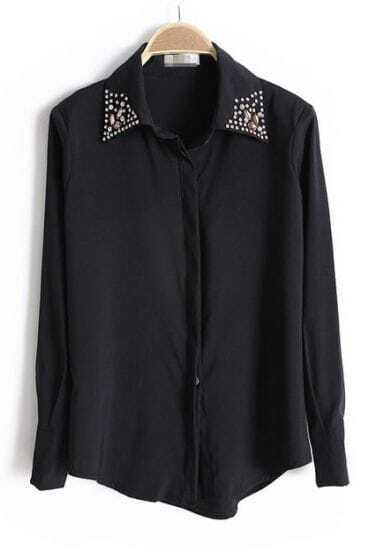 Black Lapel Gemstone Embellished Buttons Blouse