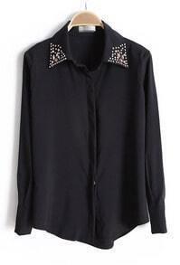 Black Lapel Gemstone Embellished Buttons Blouse