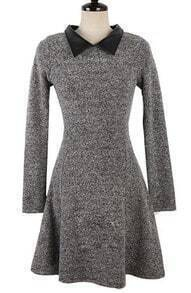 Grey Contrast Leather Lapel Ruffles Dress