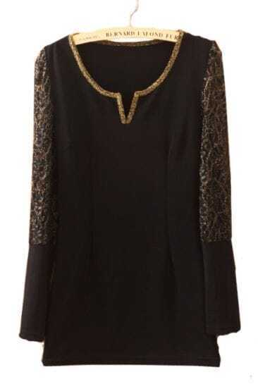 Black V Neck Lace Long Sleeve Dress