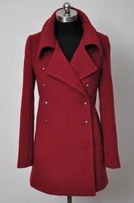 Wine Red Lapel Long Sleeve Cuff Buttons Coat