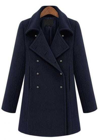 Navy Lapel Long Sleeve Cuff Buttons Coat