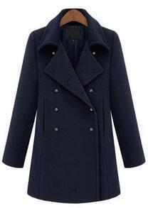 Navy Lapel Long Sleeve Cuff Buttons Coat