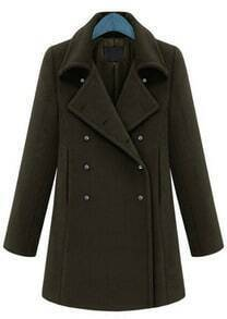 Green Lapel Long Sleeve Cuff Buttons Coat