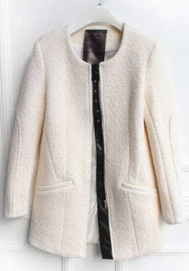 White Long Sleeve Zipper Pockets Coat